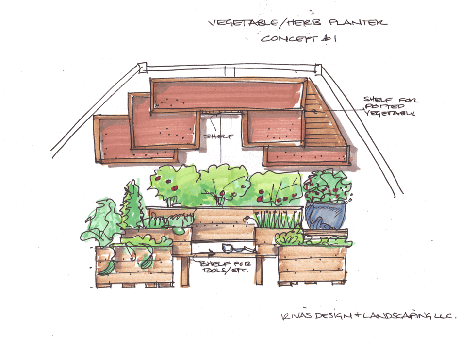 Vegetable Garden Drawing Raised Garden Box Design